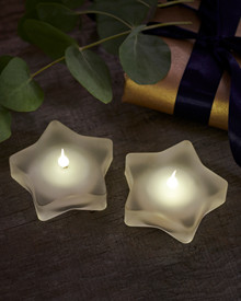 Lea 2-pcs tealights mat glass stars
