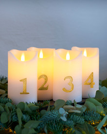 Sara Advent 4 pcs. Ø7,5xH12,5cm, White/Gold