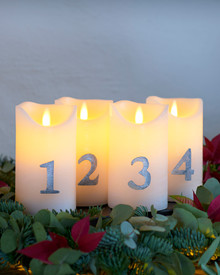 Sara Advent 4 pcs. Ø7xH12,5cm, White/Silver