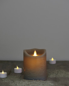 Sara candle grey H:12,5cm feeling flame
