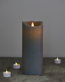 Sara candle grey H:25cm feeling flame