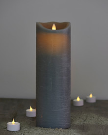Sara candle grey H:30cm feeling flame