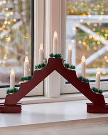 Sussie Christmas Candle Bridge red H:31cm