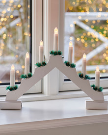 Sussie Christmas Candle Bridge white H:31 cm