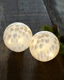 Cloudy 2 frosty white glass lamps D:10cm