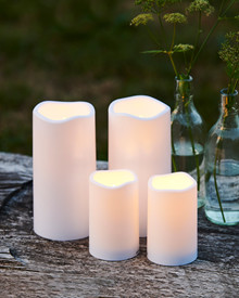 Storm LED candle 1 pc H:12,5 white plastic