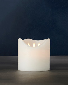 Sara Exclusive white Ø:15 H:15cm  moving flame