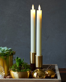 Sara Tall 2-pack Dinner Candles Almond Ø:2 H:25cm movable flame