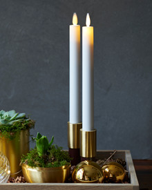 Sara Tall 2-pack Dinner Candles White Ø:2 H:25cm movable flame