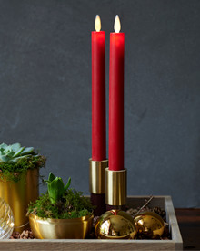 SaraTall 2-pack Dinner Candles Red Ø:2 H:25cm movable flame