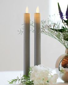 Sara Tall 2-pack Dinner Candles grey Ø:2 H:25cm movable flame