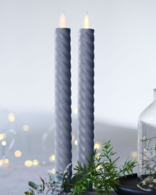 Sara Tall Wave 2-pack Dinner Candles grey Ø:2 H:25cm movable flame