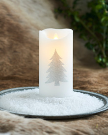 Sara Tree white/silver Ø:7,5 H:15cm movable flame
