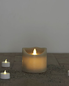 Sara candle grey H:9cm moving flame