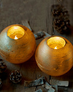 Mona 2 globe LED candles 12 cm gold