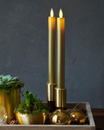 Sara Tall 2-pack Dinner Candles Gold Ø:2 H:25cm movable flame