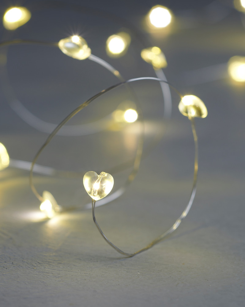 L 230 Rke Battery String Light With 20 Clear Hearts From Sirius