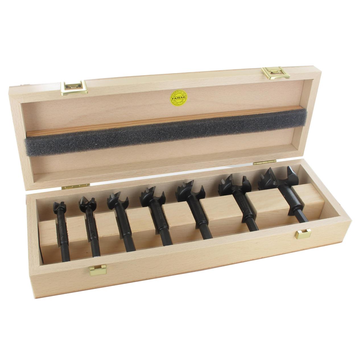 FAMAG 6-TEILIGER Bormax Hartmetall-Forstnerbohrersatz D=15,20,25,30,35,40MM Im Holzkasten