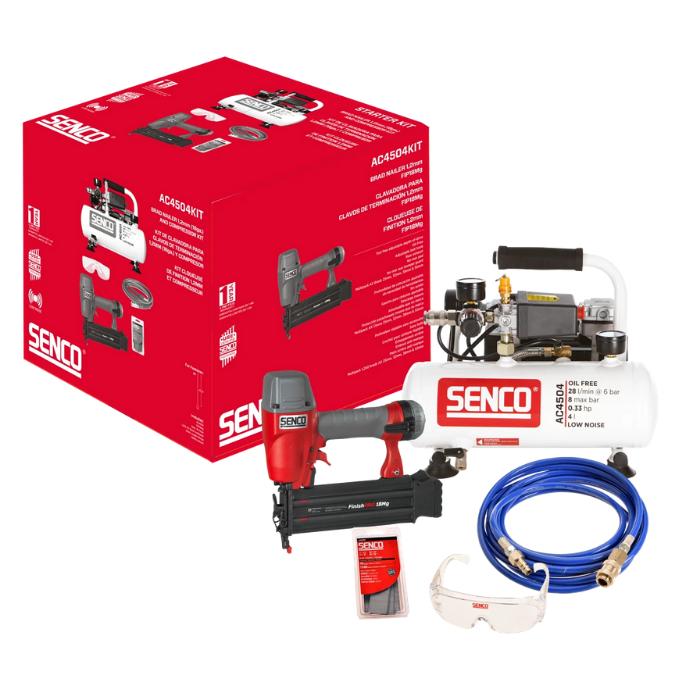 Senco Kompressorsæt AC4504 og FinishPro18Mg - Værktøj -> Trykluftværktøj -> Kompressor|Værktøj -> Trykluftværktøj|Værktøj|Diverse -> Skudmontage træ -> Trykluft|Diverse -> Skudmontage træ|Diverse|Mærker -> Senco -> Senco Kompressor|Mærker -> Senco