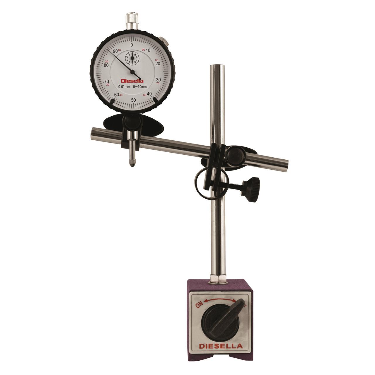 Køb Diesella Måleursstander inkl. måleur 0-10mm med flad bagside (inkl. plastik kuffert)