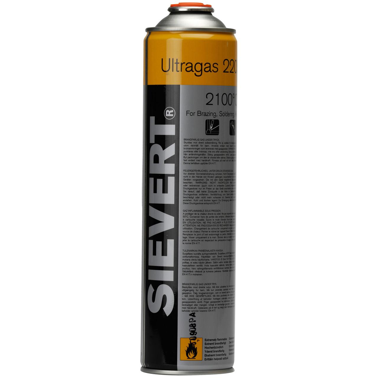 SIEVERT Gasdåse Ultragas 2205 210g/380ml - Værktøj -> Håndværktøj -> Gas og loddeværktøj -> Gasdåser|Værktøj -> Håndværktøj -> Gas og loddeværktøj|Værktøj -> Håndværktøj|Mærker -> Sievert