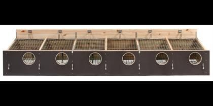 """HG Redekasse fyr/birk 204 +2"""" (130 mm hul) 6 rums til indsats, med skodskinner"""