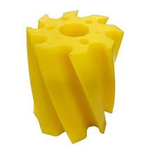 Skraberulle, snoet mod uret, 8 tands, gul, shore 86, Ø115 mm x 130 mm