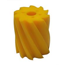 Skraberulle, snoet mod uret, 10 tands, gul, shore 86, Ø132 mm x 158 mm