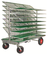 HG Shelf trolley XL / 7 shelfs Shelf length 200cm, Hight with shelf down 187cm