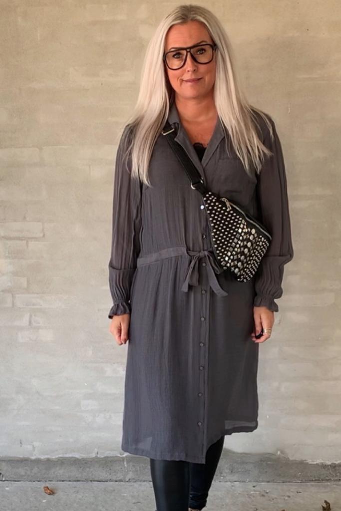 Geraldine DRESS, GREY GREEN One Two Luxzuz kjole