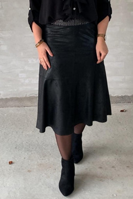 Madelina coated suede SKIRT, BLACK One Two luxzuz Nederdel 2080 503