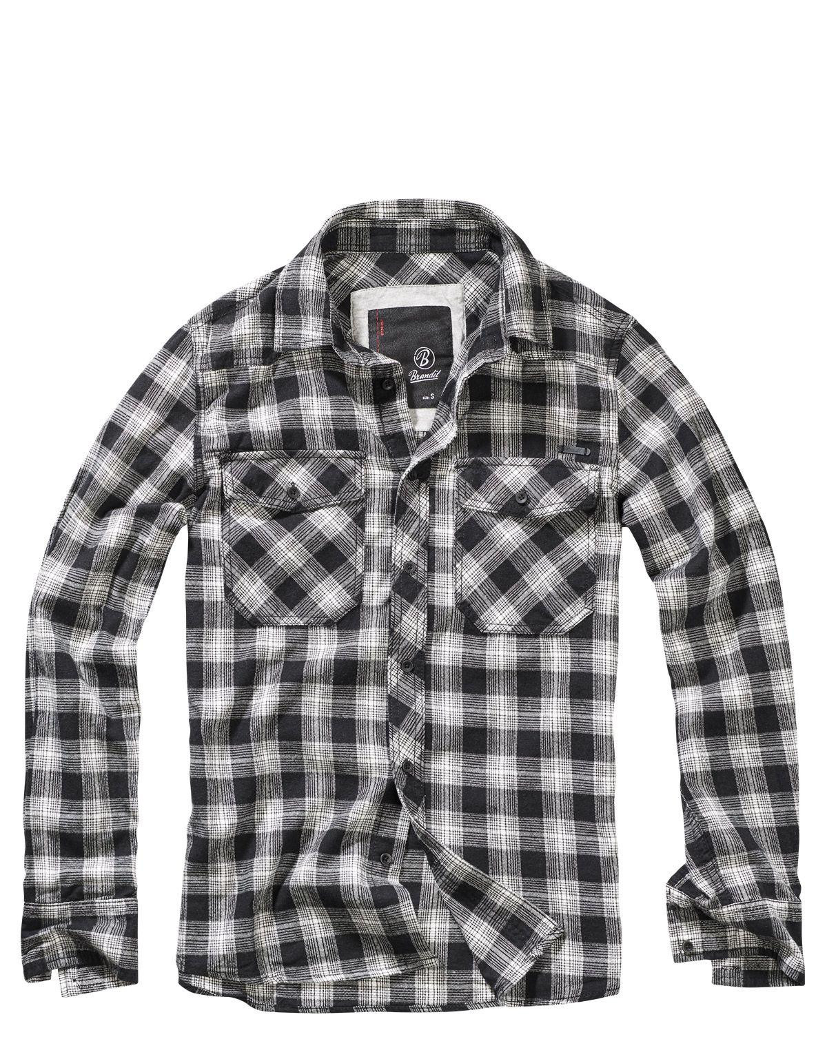 Image of   Brandit Great Creek Skjorte (Sort / Off-white, 2XL)