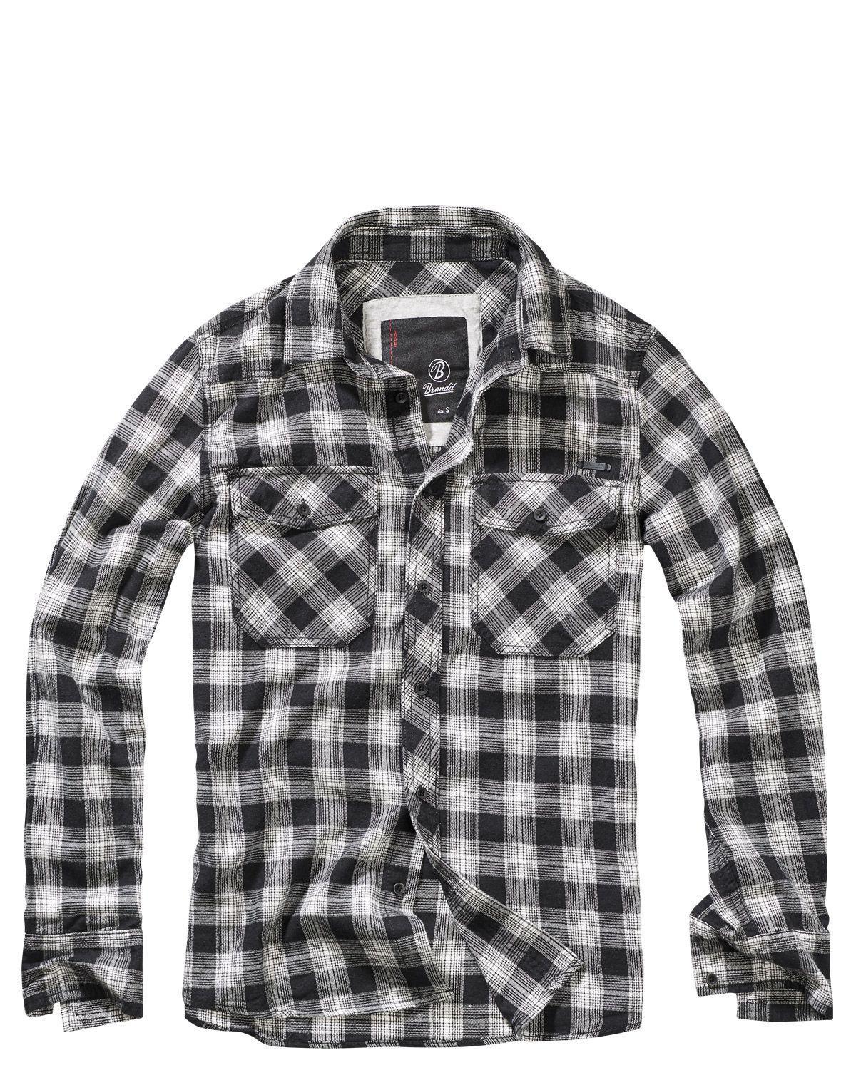 Image of   Brandit Great Creek Skjorte (Sort / Off-white, 2XL)