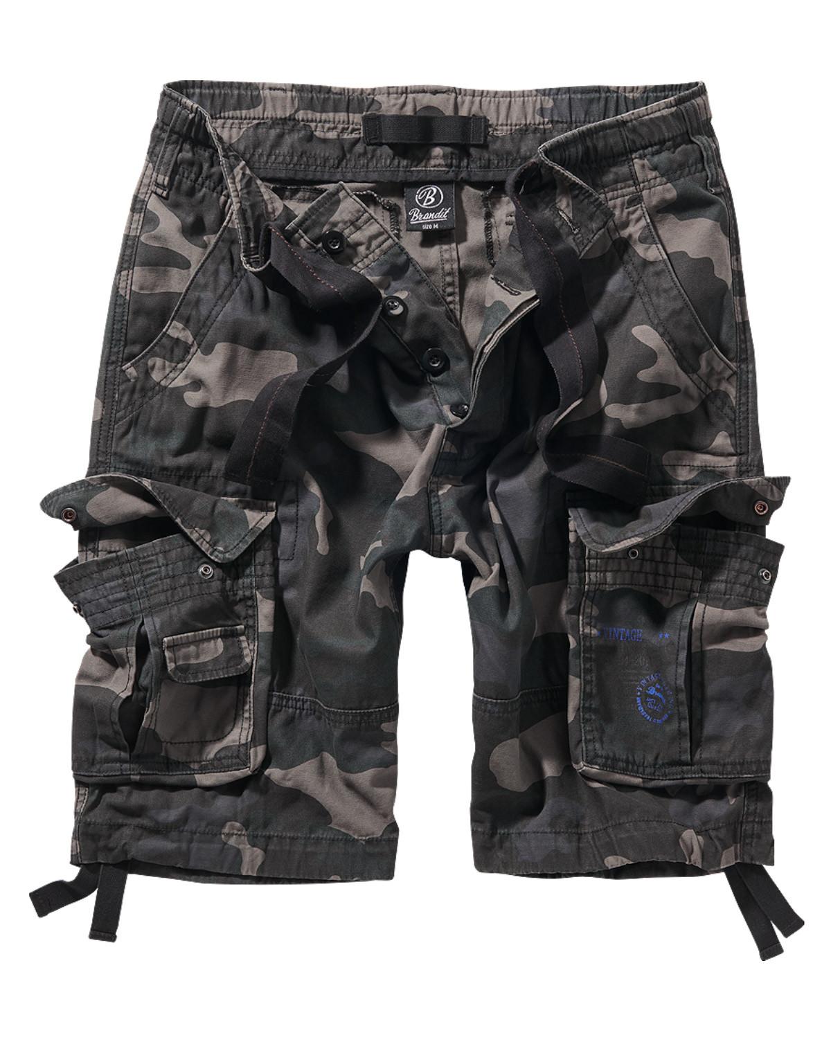Image of   Brandit Pure Vintage Shorts (Black Camo, 2XL)