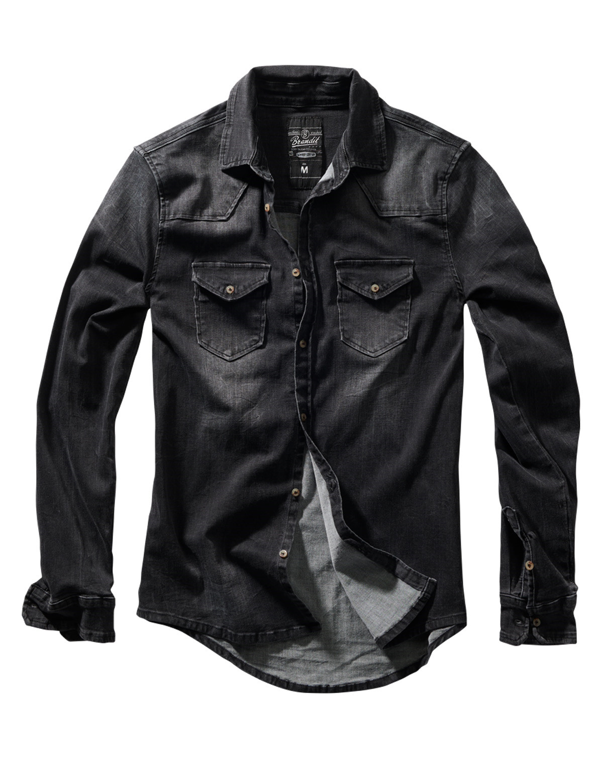 Image of   Brandit Riley Denim Skjorte (Sort, 2XL)