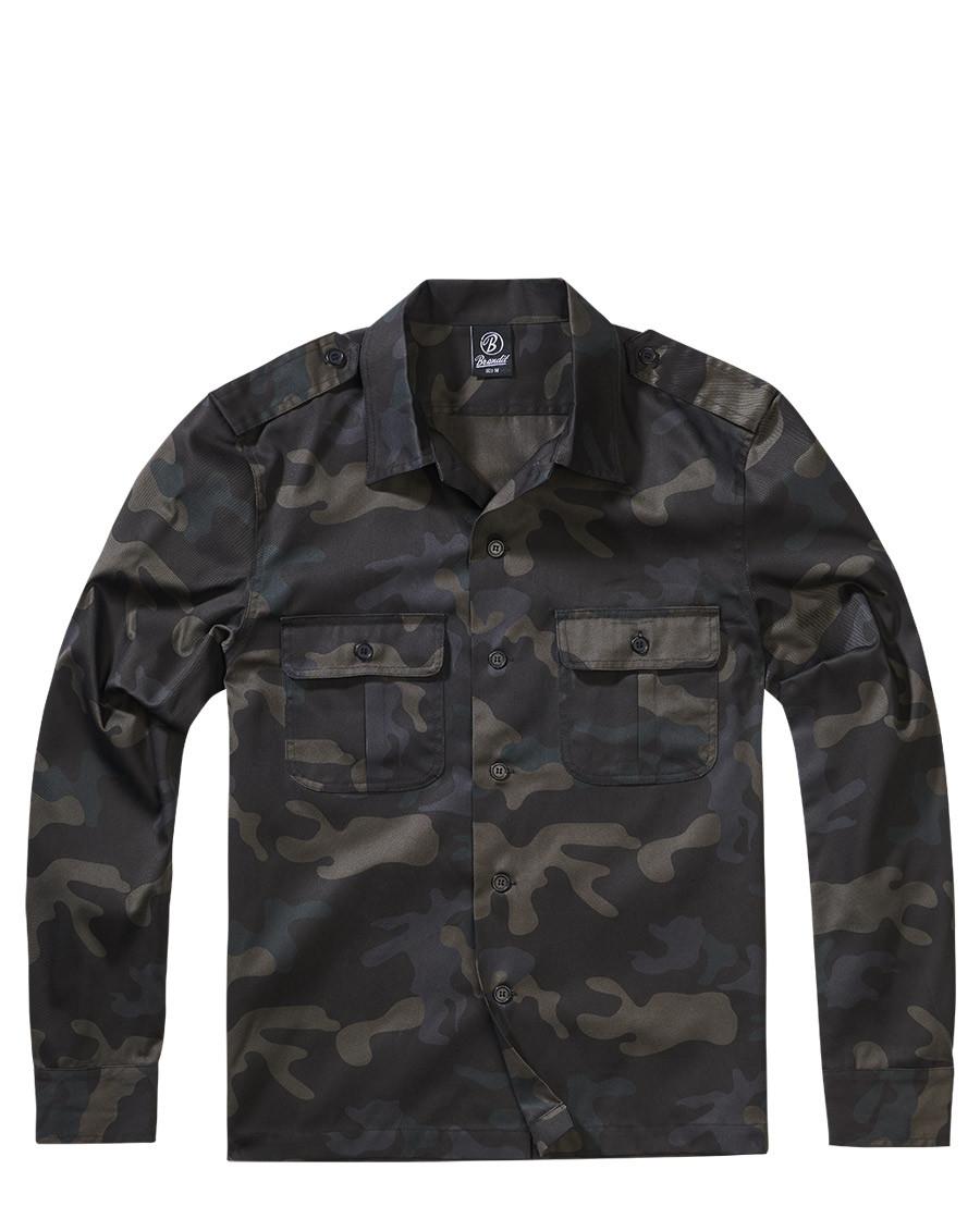 Brandit U.S. Långärmad Skjorta (Dark Camo, XL)