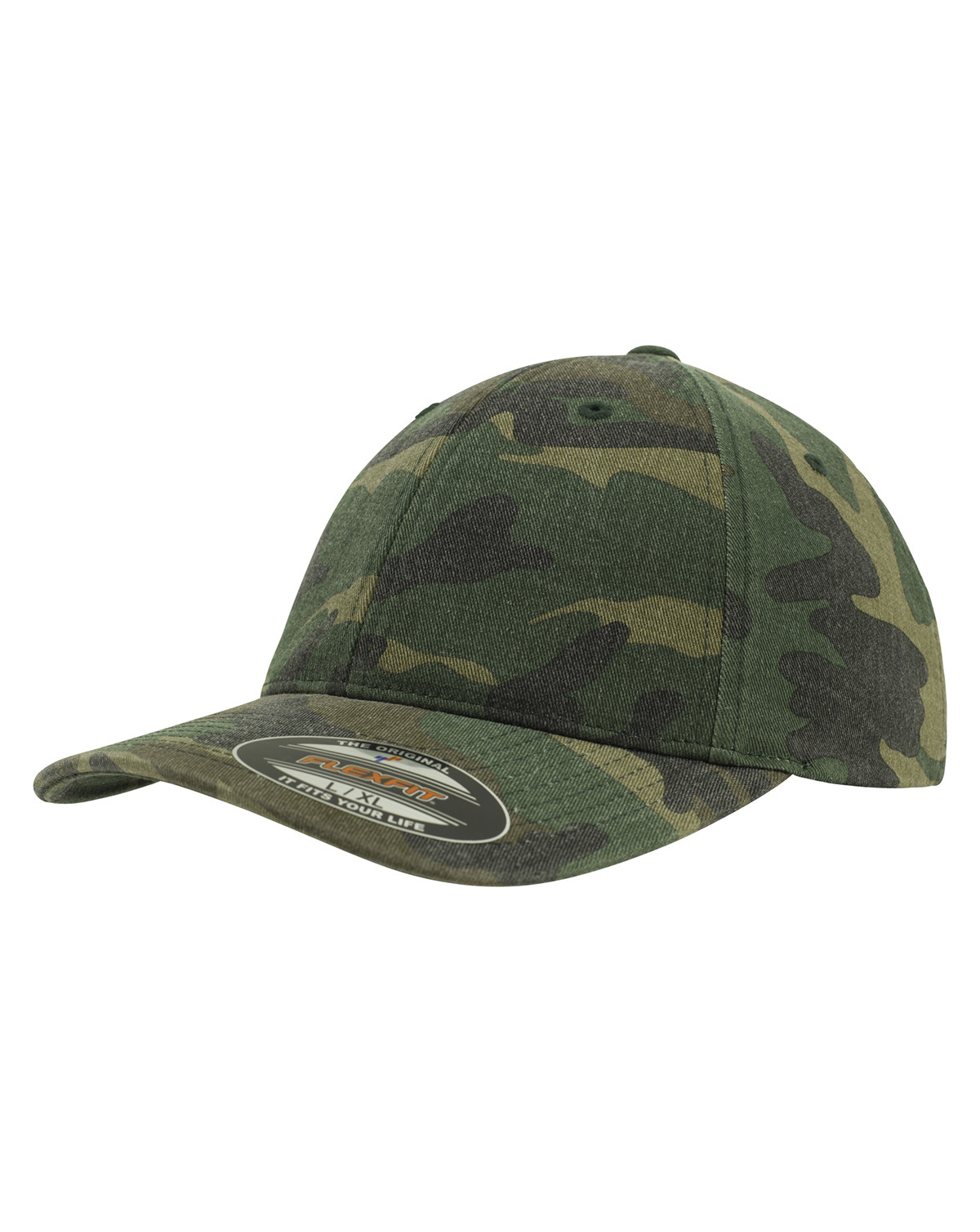 Image of   Flexfit Garment Washed Camo Cap (Woodland, L/XL)