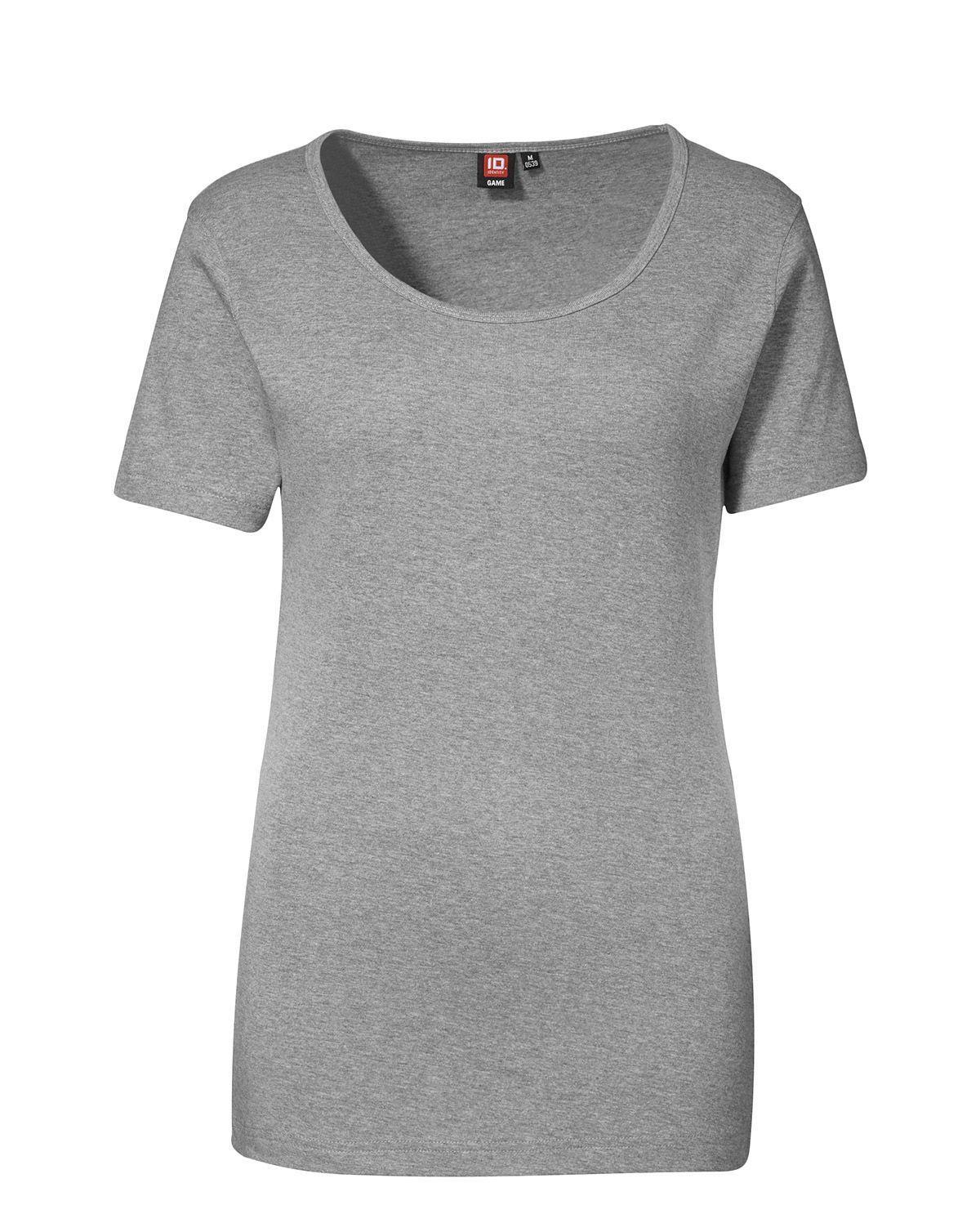 ID 1x1 rib T-shirt til Kvinder (Grå Meleret, 2XL)