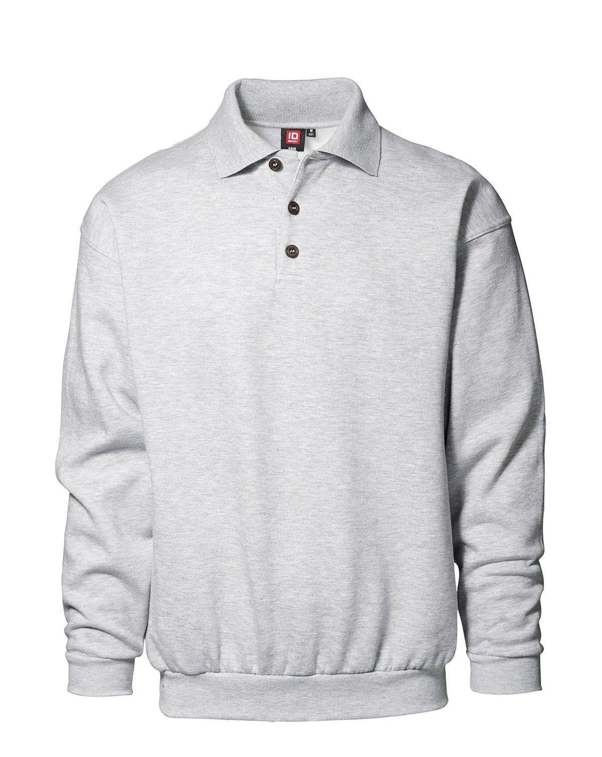 ID Klassisk Polosweatshirt (Ljusgrå, S)
