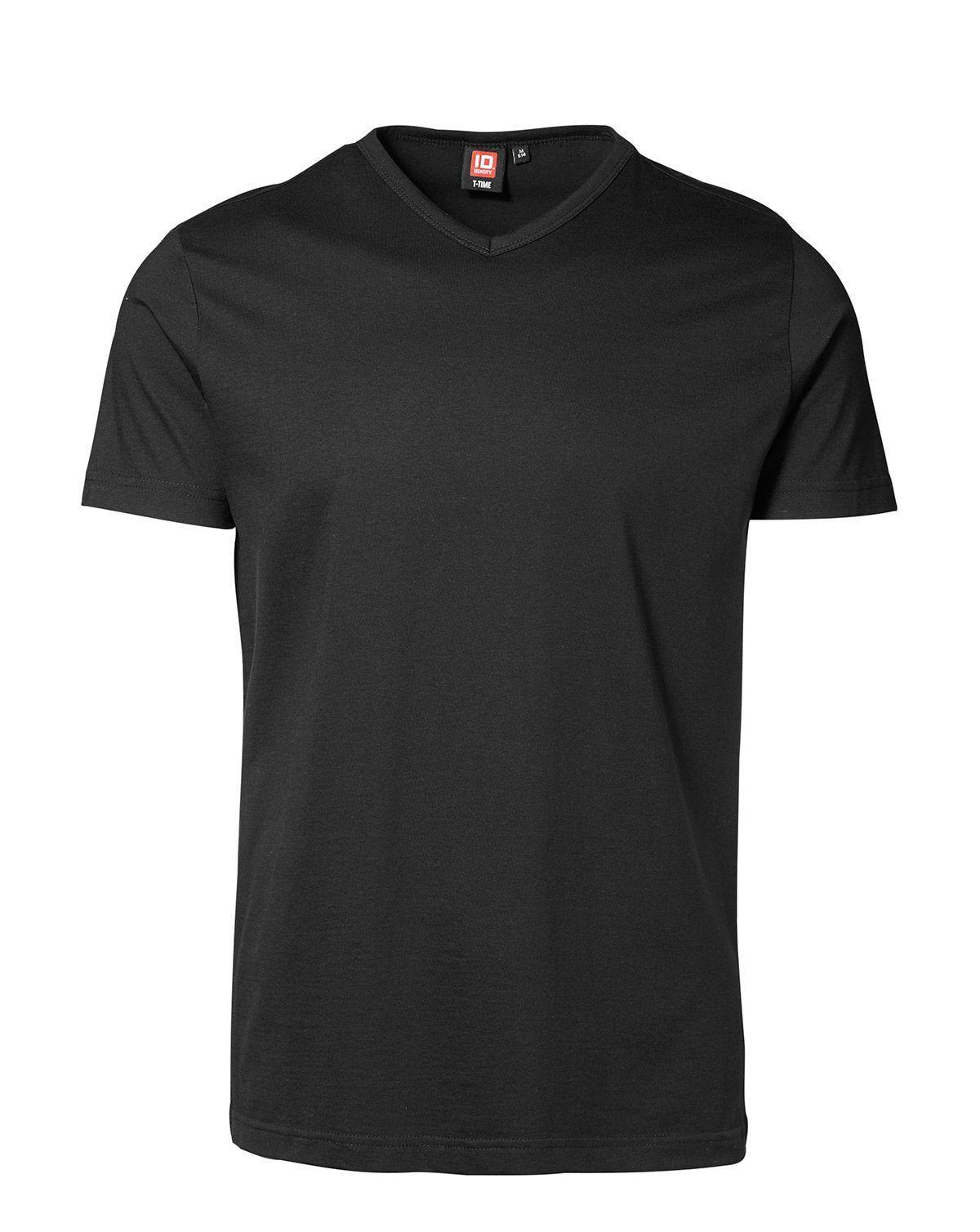 ID V-hals T-shirt (Sort, 2XL)