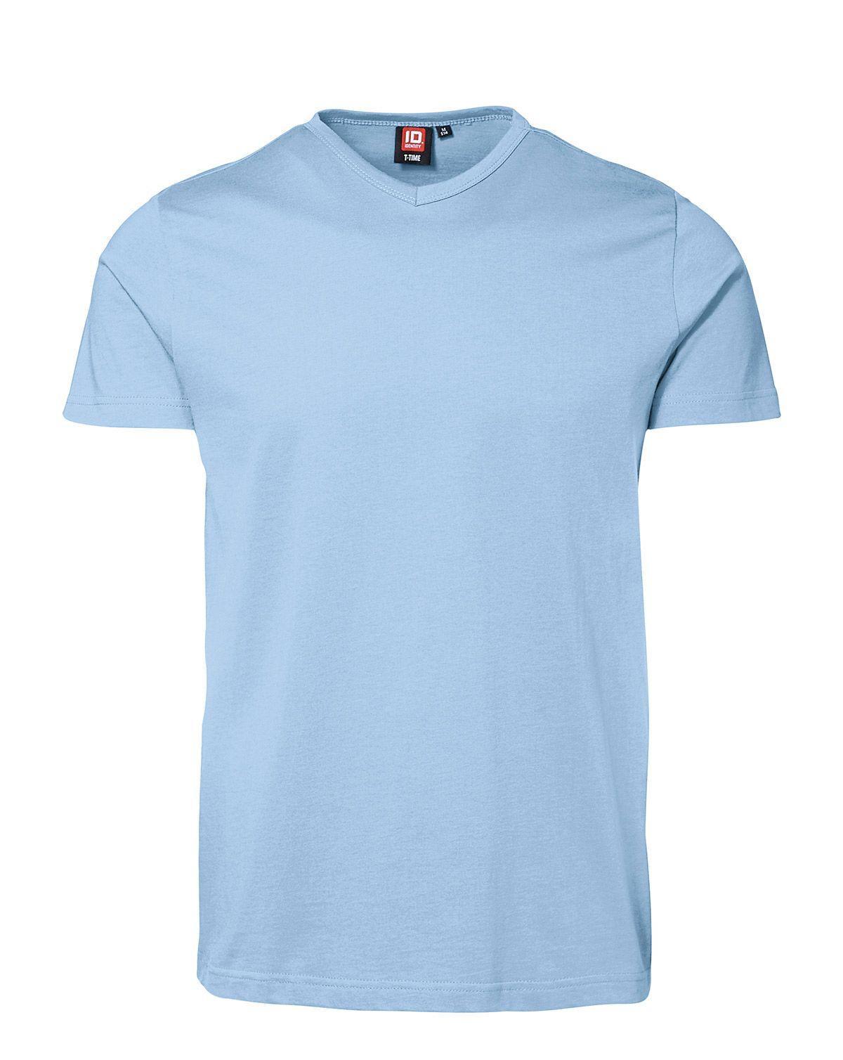ID V-hals T-shirt (Lyseblå, 2XL)