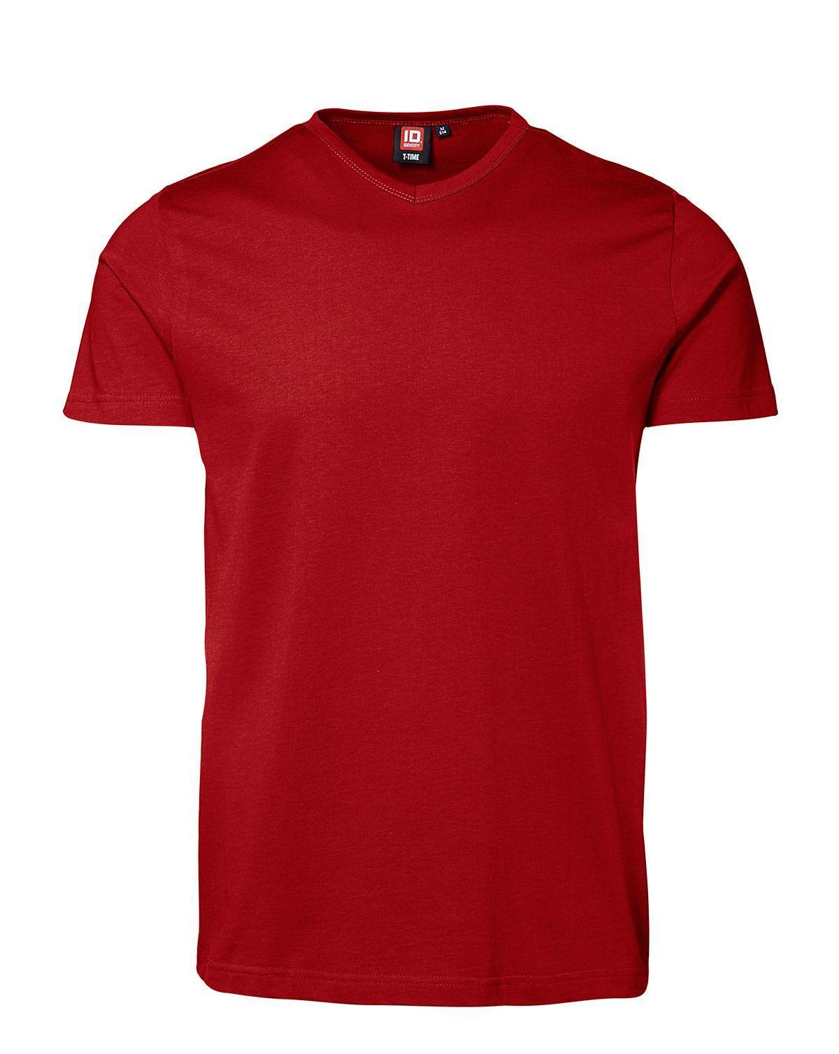 ID V-hals T-shirt (Rød, 2XL)