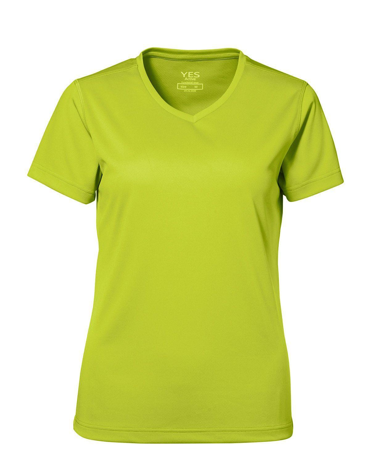 ID YES Fukttransporterande T-shirt för Kvinnor (Lime, XL)