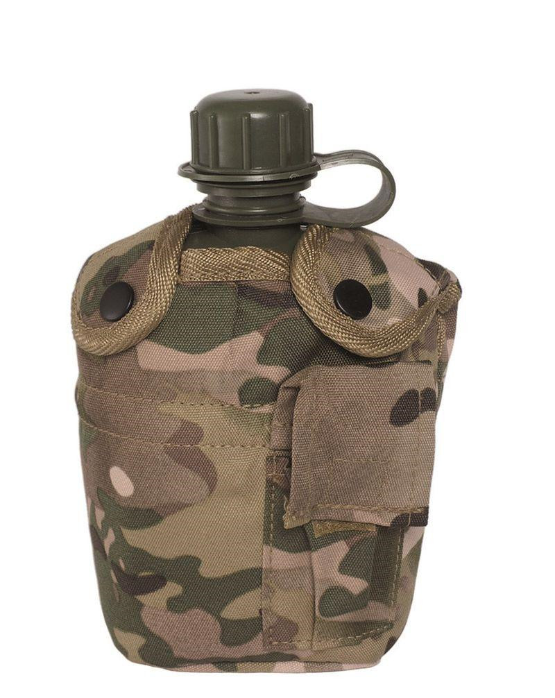 Image of   Mil-Tec US Plastik Canteen m. Cover (Multi Camo, One Size)