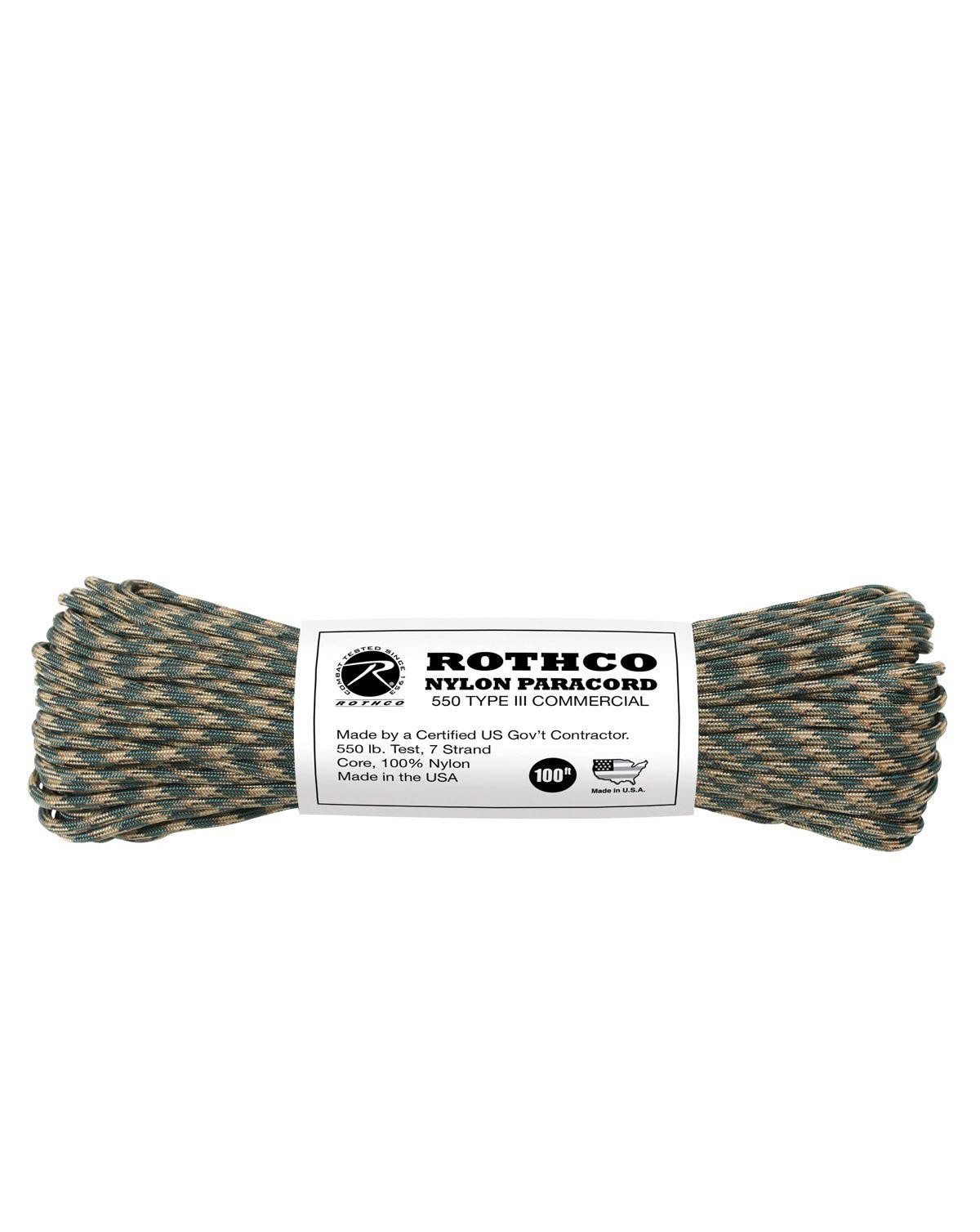Image of   Paracord, Nylon 30m (Woodland Camouflage, One Size)