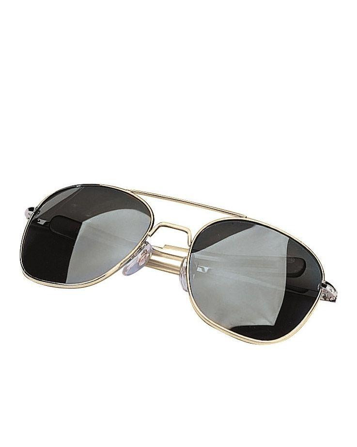 Image of   Rothco Aviator Solbriller (Guld m. Røget Glas, One Size)