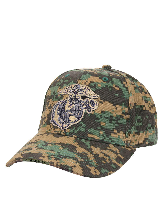 Rothco Baseball Cap - 'USMC Globe & Anchor' (Digital Woodland, One Size)