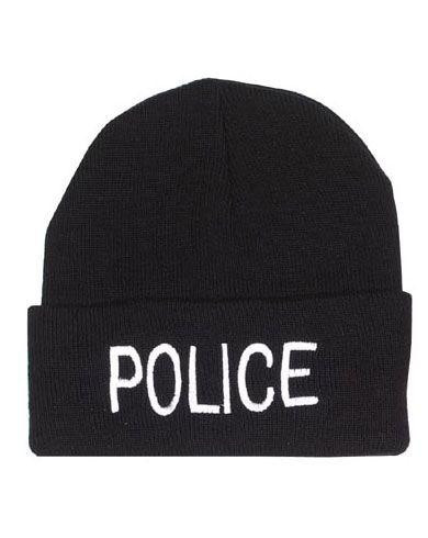 Image of   Rothco Broderet Watch Cap (Black / Police, One Size)