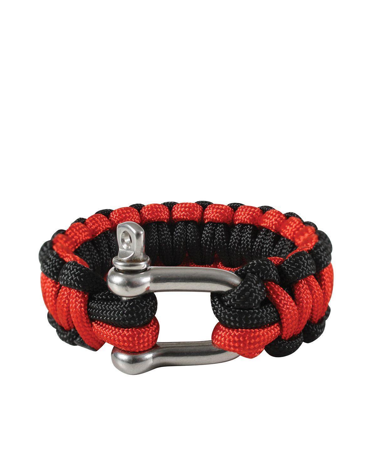 """Image of   Rothco D-shackle Paracord Armbånd (Rød / Sort, 7"""" / 18 cm)"""