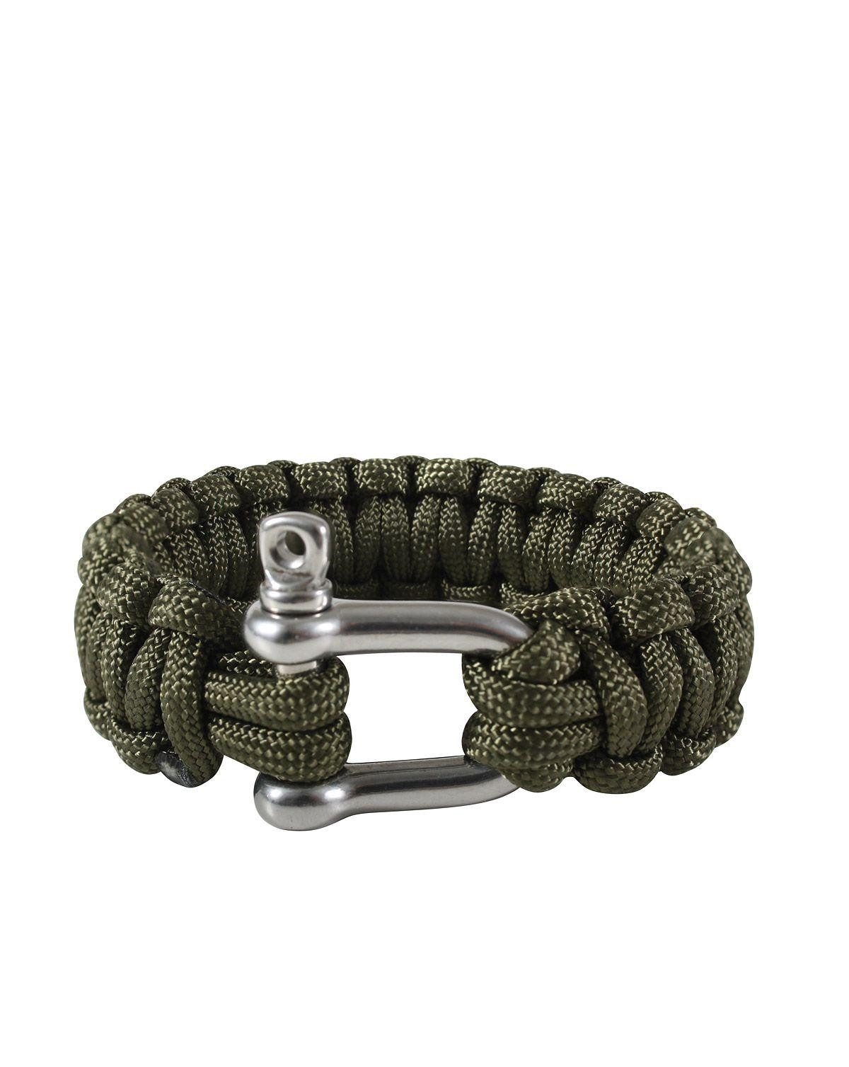 "Image of   Rothco D-shackle Paracord Armbånd (Oliven, 10"" / 25 cm)"
